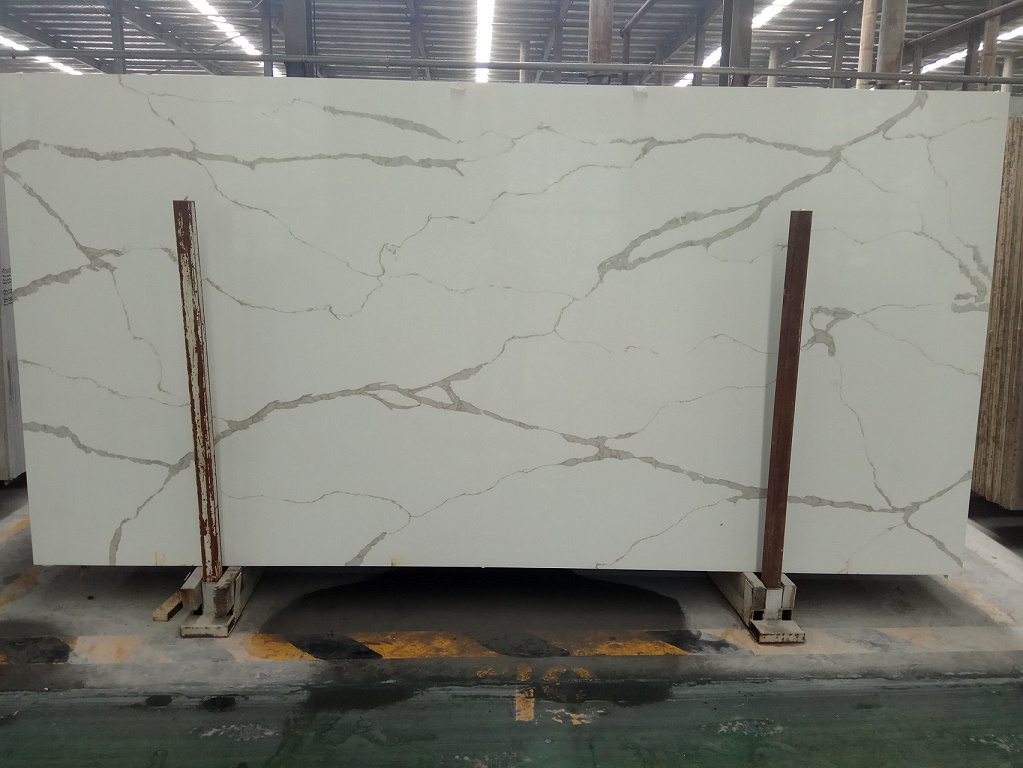 Chinese Calacatta Quartz Polished Slabs
