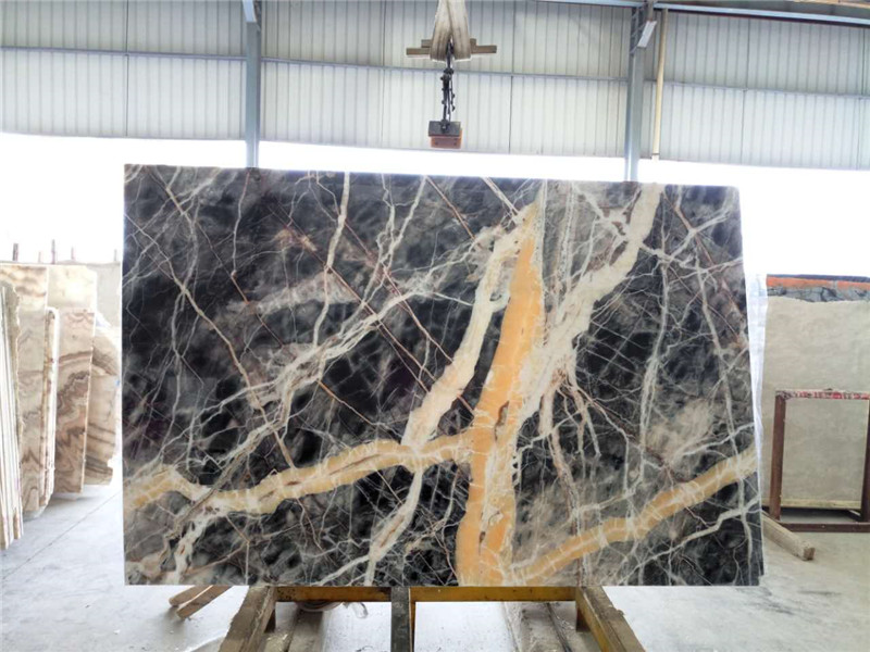 Black Jungle Marble Slabs TilesPure Nature Forest Rain Black Marble Price for Wall Coverings Countertop