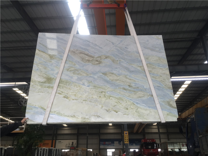 Moon River Blue Green Marble Slabs Light Blue Marble Tiles