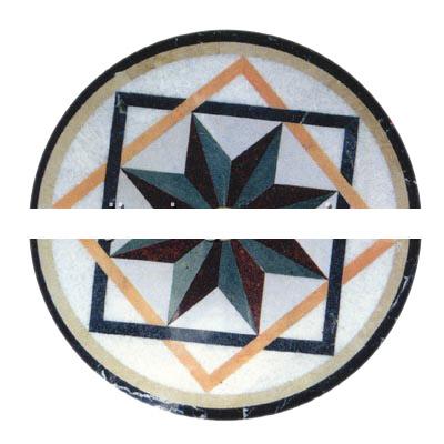 Marble stone water jet medallion carpet