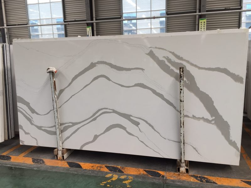 Calacatta White Polished Quartz Slabs