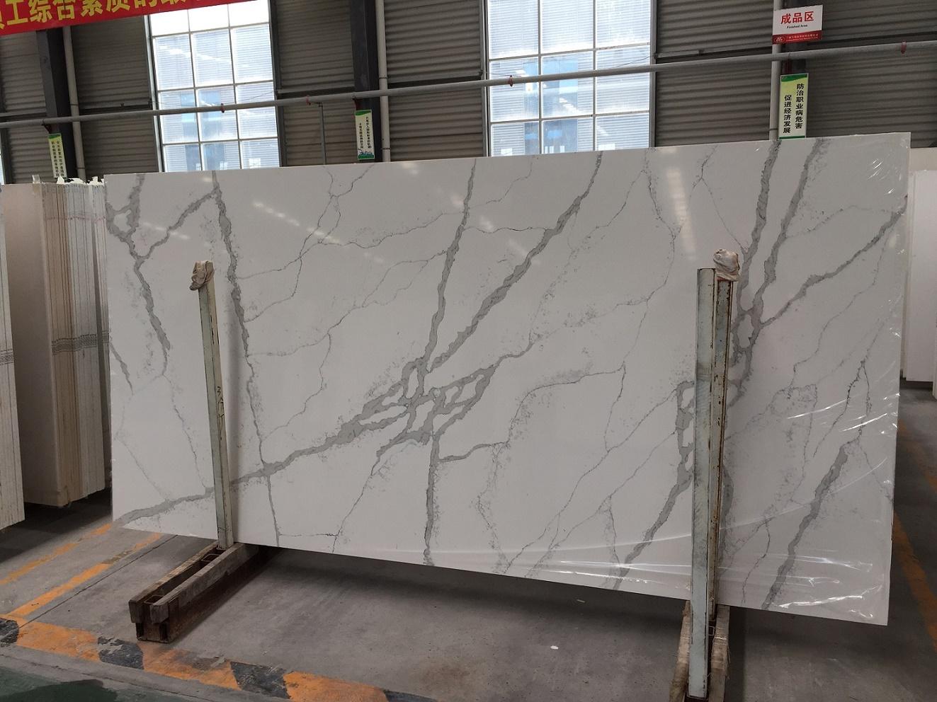 Artificial calacatta quartz stone slabs