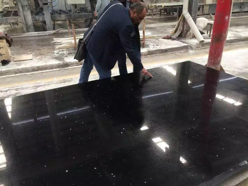 Glitter black quartz stone slabs for countertops