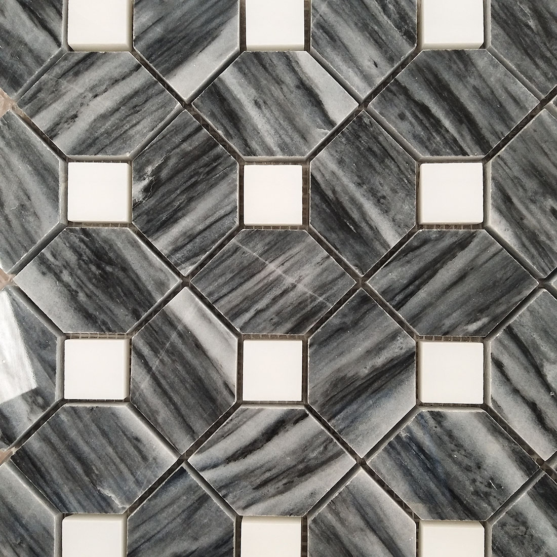 black and white marble mosaic floor tile