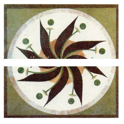 Marble stone water jet medallion carpet