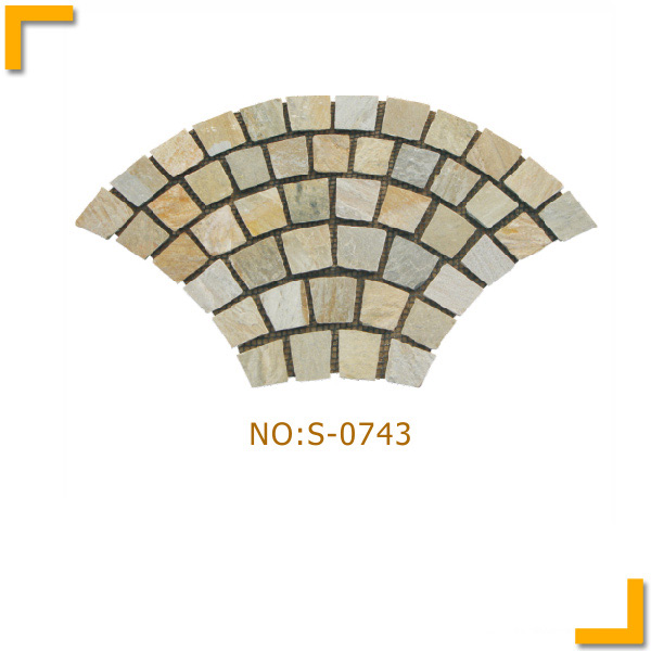 Fan design beige quartzite flagmat stone