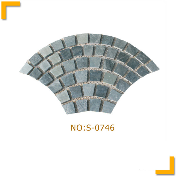 Fan design grey slate flagmat stone flooring