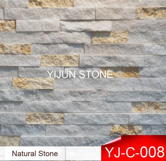 White Marble Quartize Culture Stone for Wall Cladding Wall Panel Split Surface Hebei China