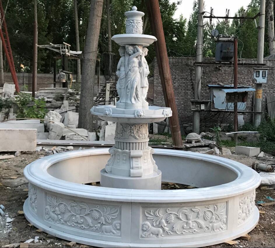 White marble sculpture garden stone fountain