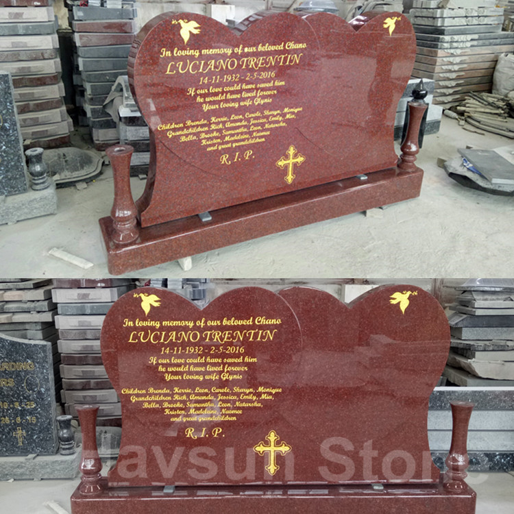 Imperial Red PG Double Heart Monument Tombstone