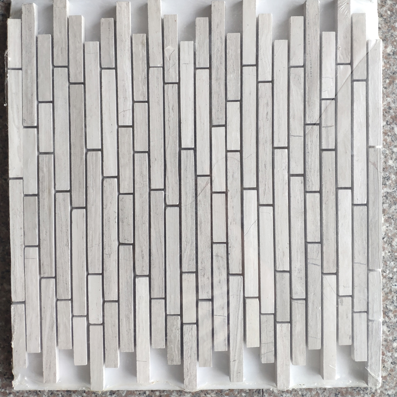 White Wood marble mosaic