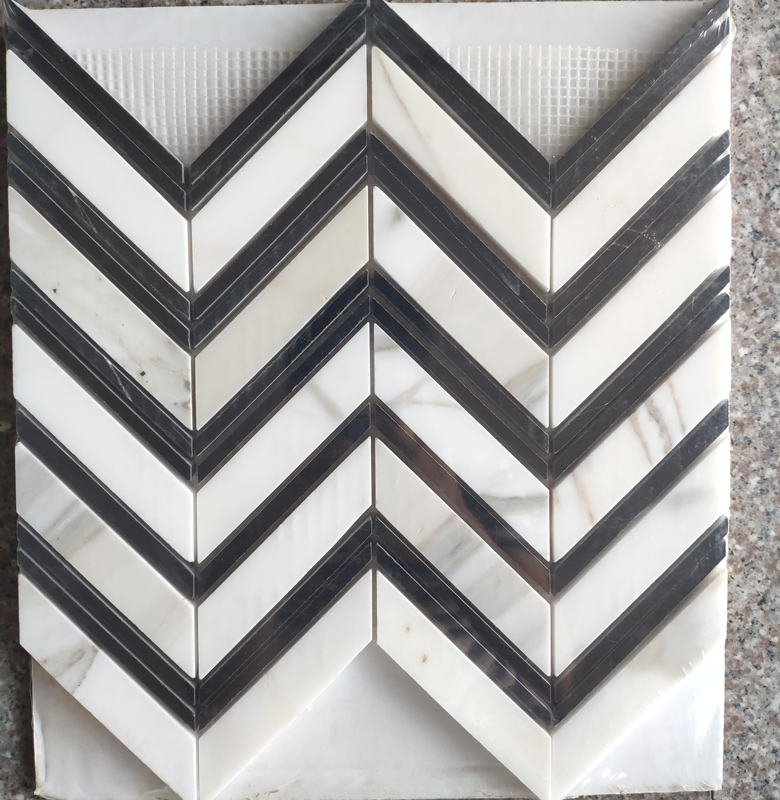 Black and White herringbone mosaic