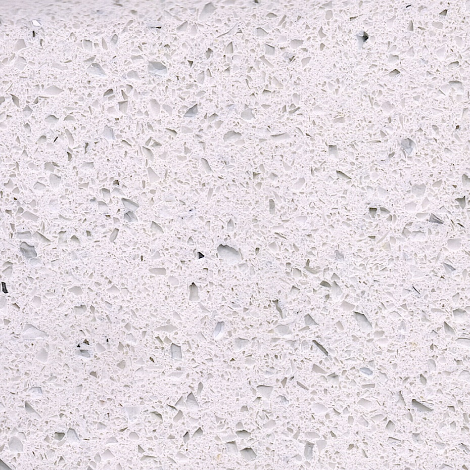 Sparkle white color artificial quartz stone with mirrors