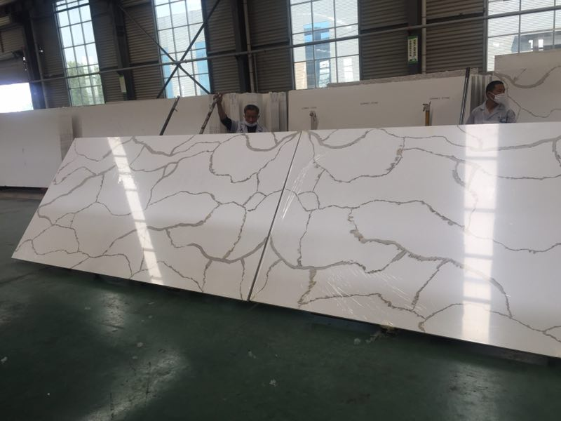 Book Match Calacatta White Quartz Slabs