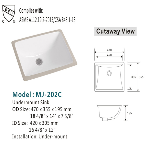 Ceramic washbasins rectangular