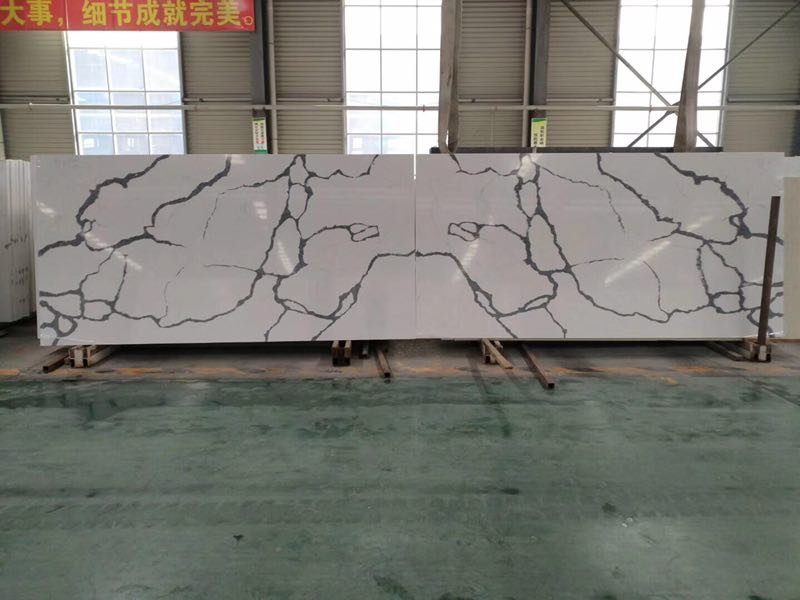 Book Match Marble Look Like Engineered Quartz Stone Slabs