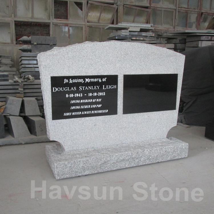 G603 white granite headstone double monument