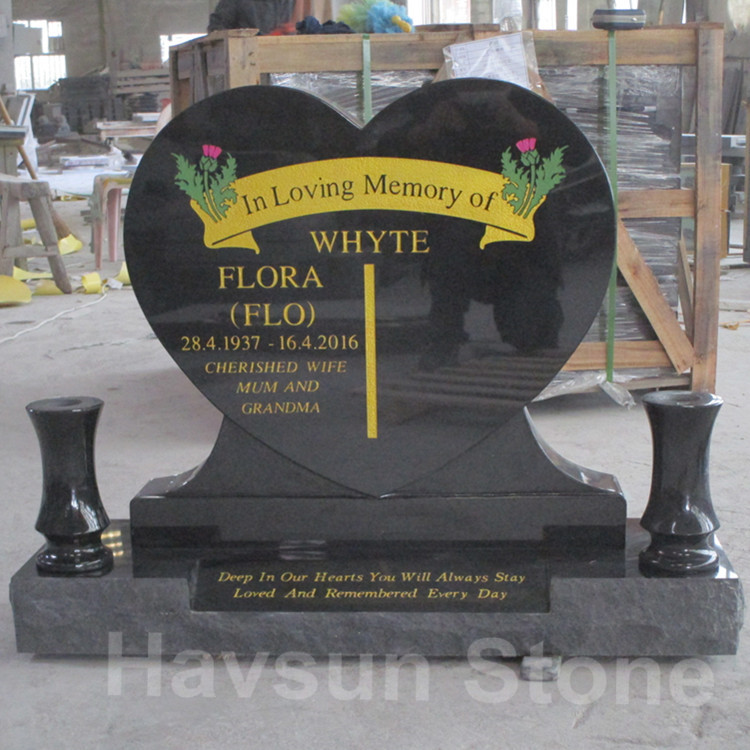 Oceanian Black Heart Headstone Monument Tombstone