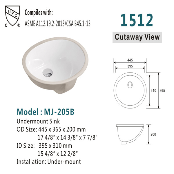 Ceramic under basin