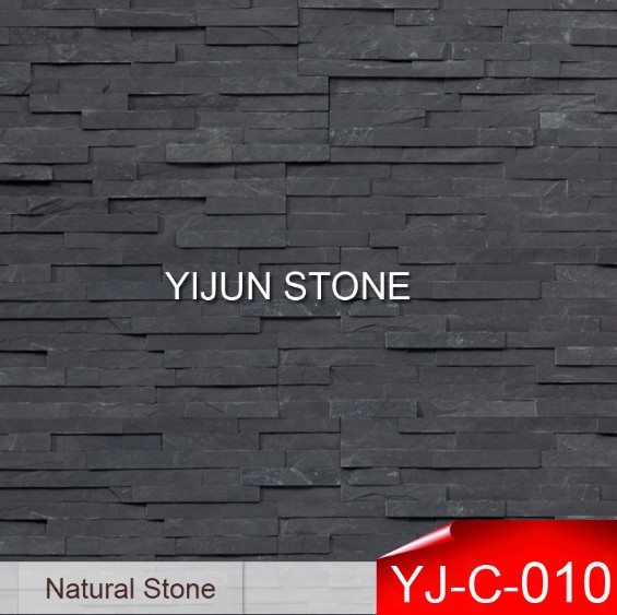 Black Color Slate Manufacture Exterior Wall Stone Decorative Cladding Wall Panel Hebei Jiujiang China