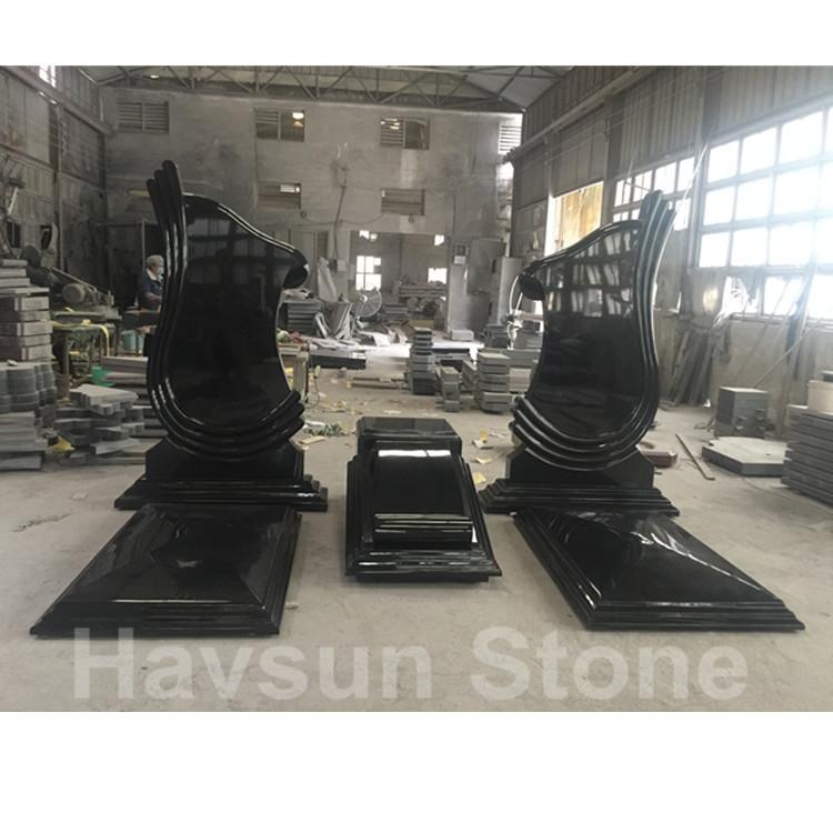 Black Granite Double Monument Tombstone Gravestone