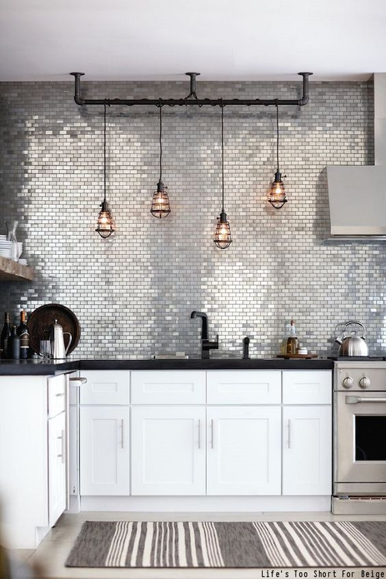 Silver mosaic backsplash