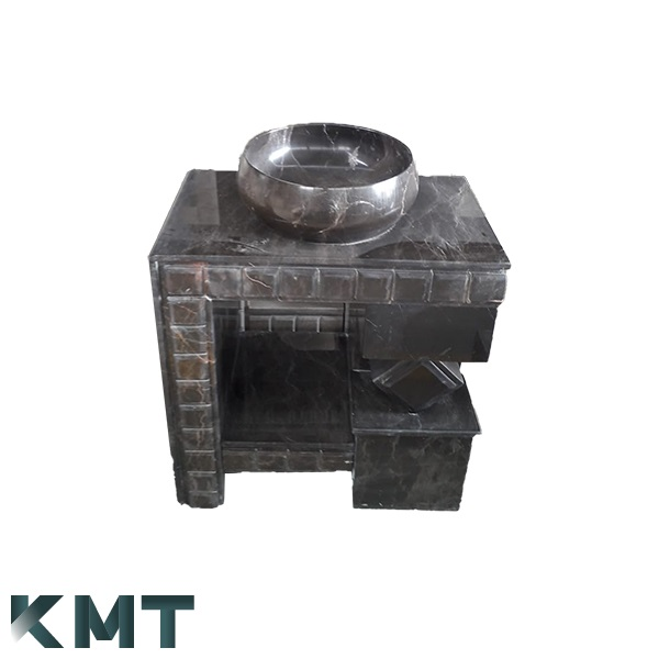 Black Pedestal Sink  Stone Basin S-15011