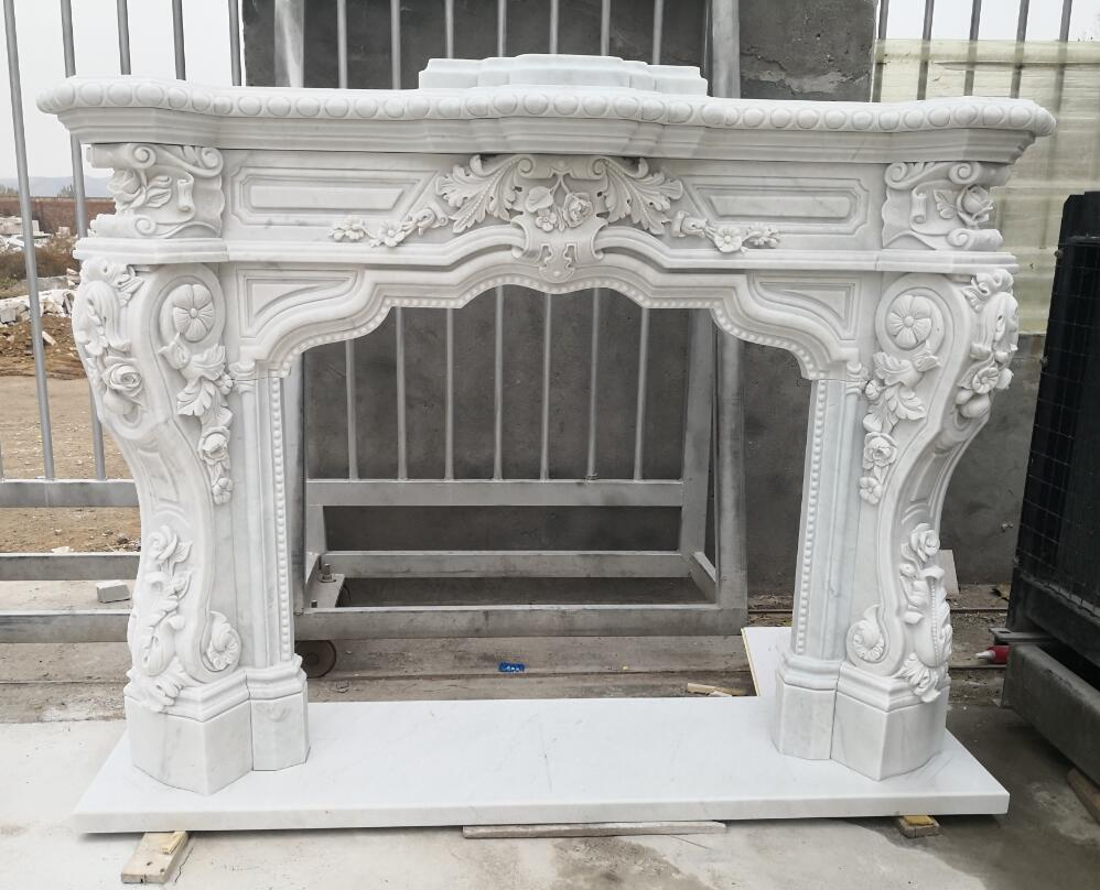 White marble fireplace mantel stone stove