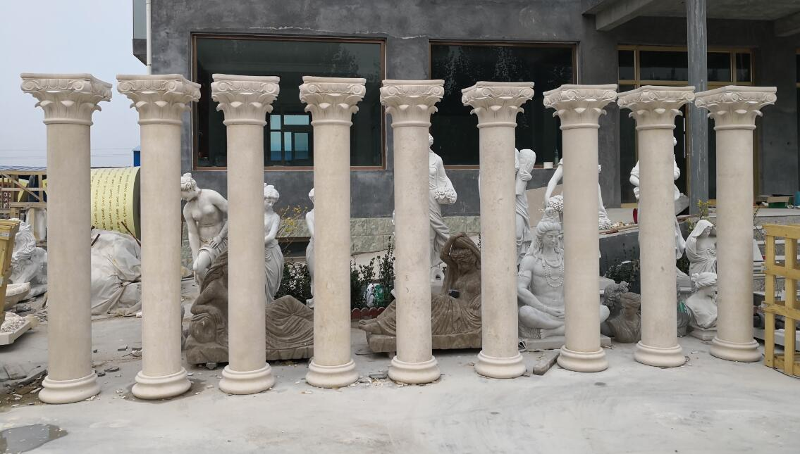 Travertine stone columns marble pillars