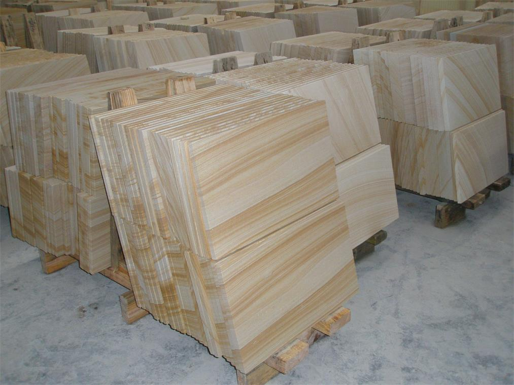 Chinese honed yellow vein sandstone tiles for outdoor and indoor decoration