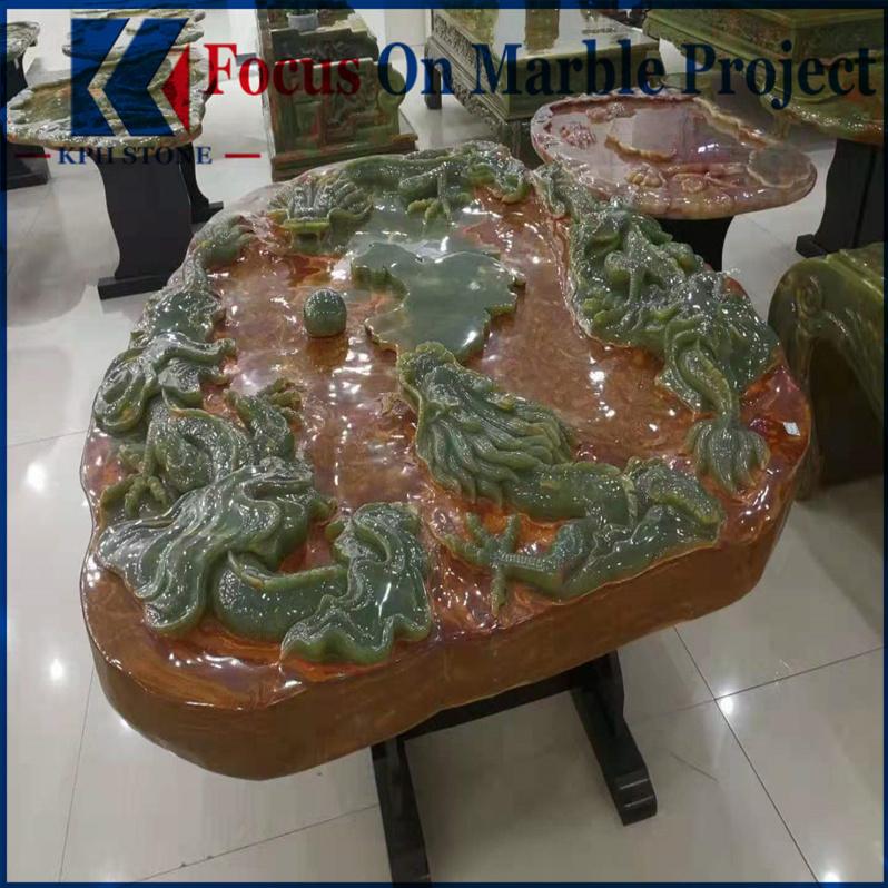 Green onyx coffee tea table top