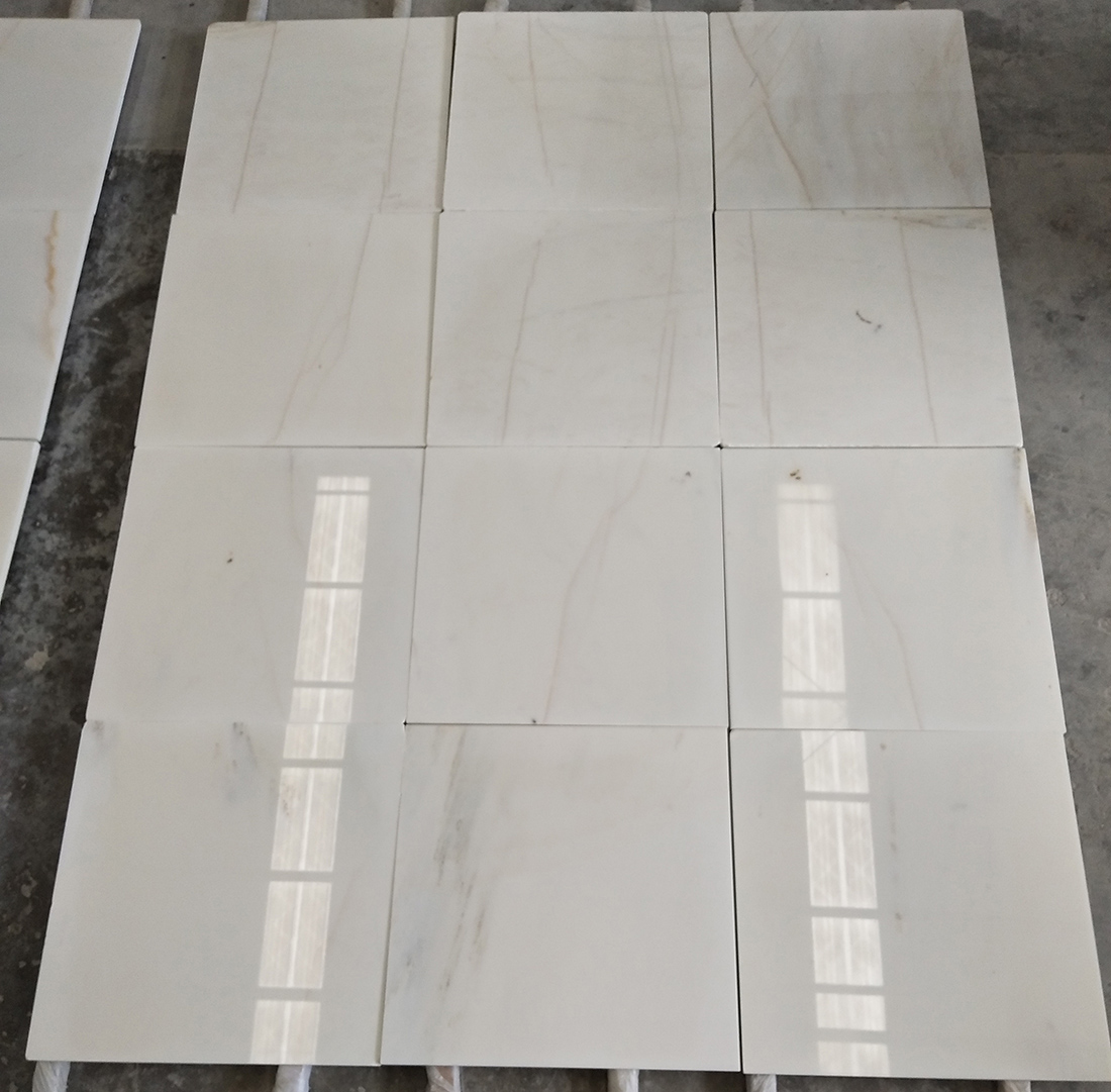 Golden Thread Jade Marble Tiles White