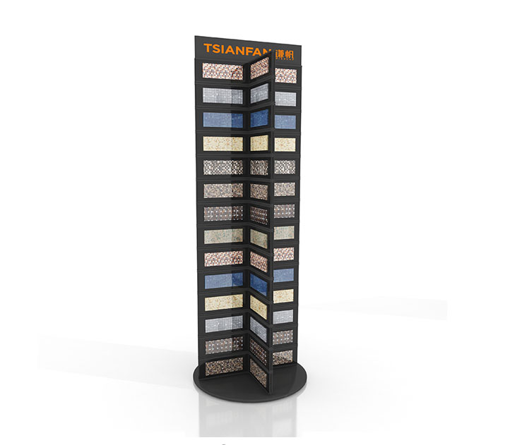 Glazzio mosaic display rack with mosaic swatch