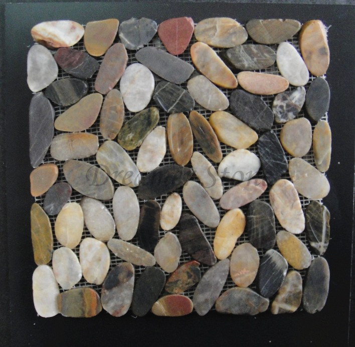 Mixed colour river polished sliced pebble stone mosaic