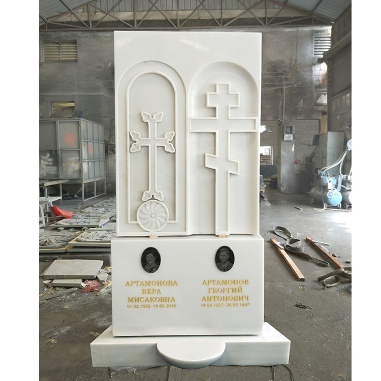 White Marble Cross Double Monument Headstone