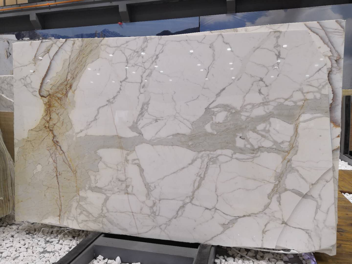 High Quality White Marble Polished White Calacatta Slabs