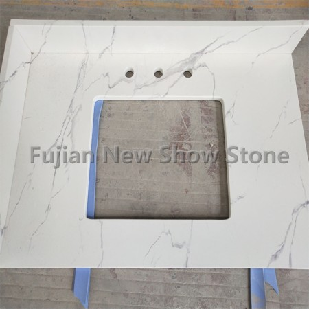 Artificial White marble vanity countertop