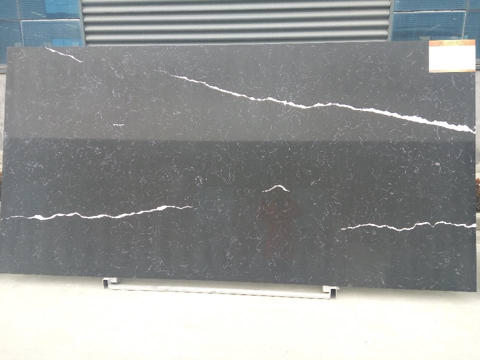 Black quartz slab