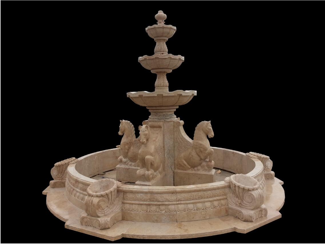 Carved stone horse sculpture garden water fountain
