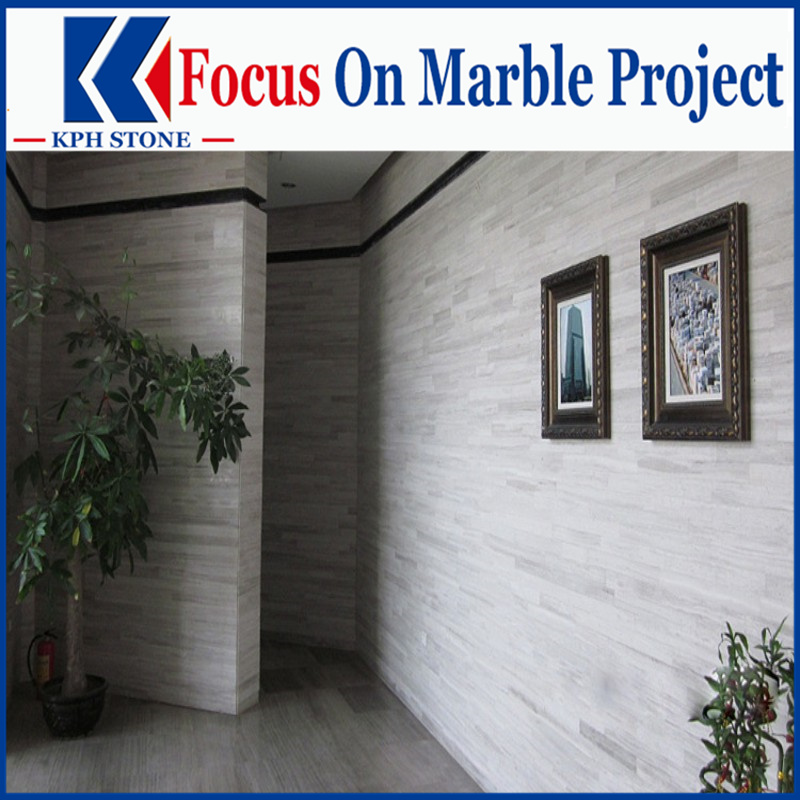 China Serpegiante Gey wood Marble Tiles for Wall Panel