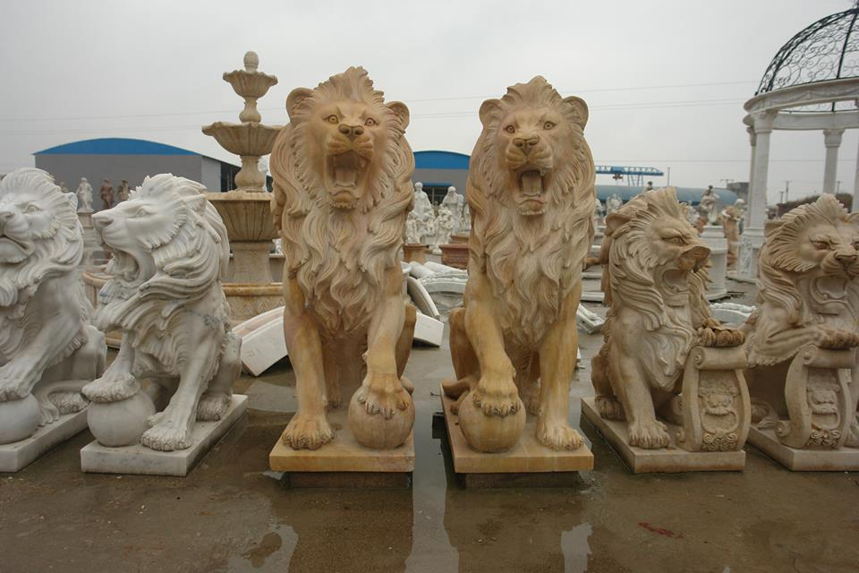 Animal Sculptures Yellow Sandstone Stone Carvings