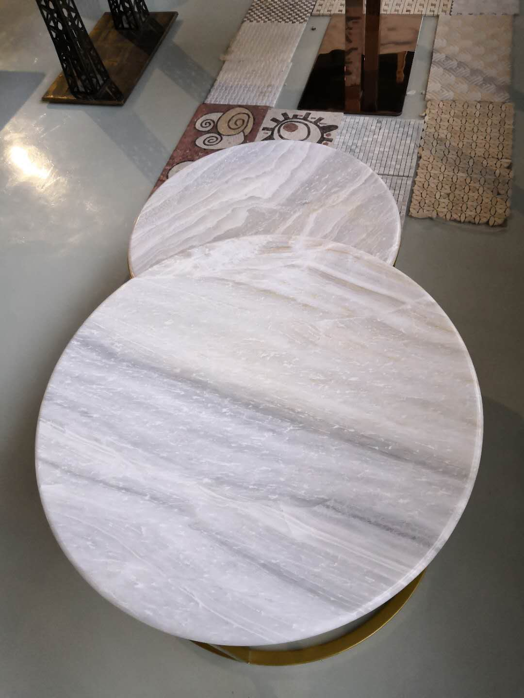 Polished White Marble Table