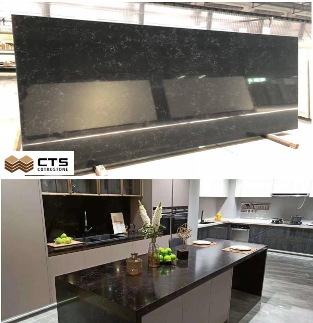 Engineered polished quartz kitchen top