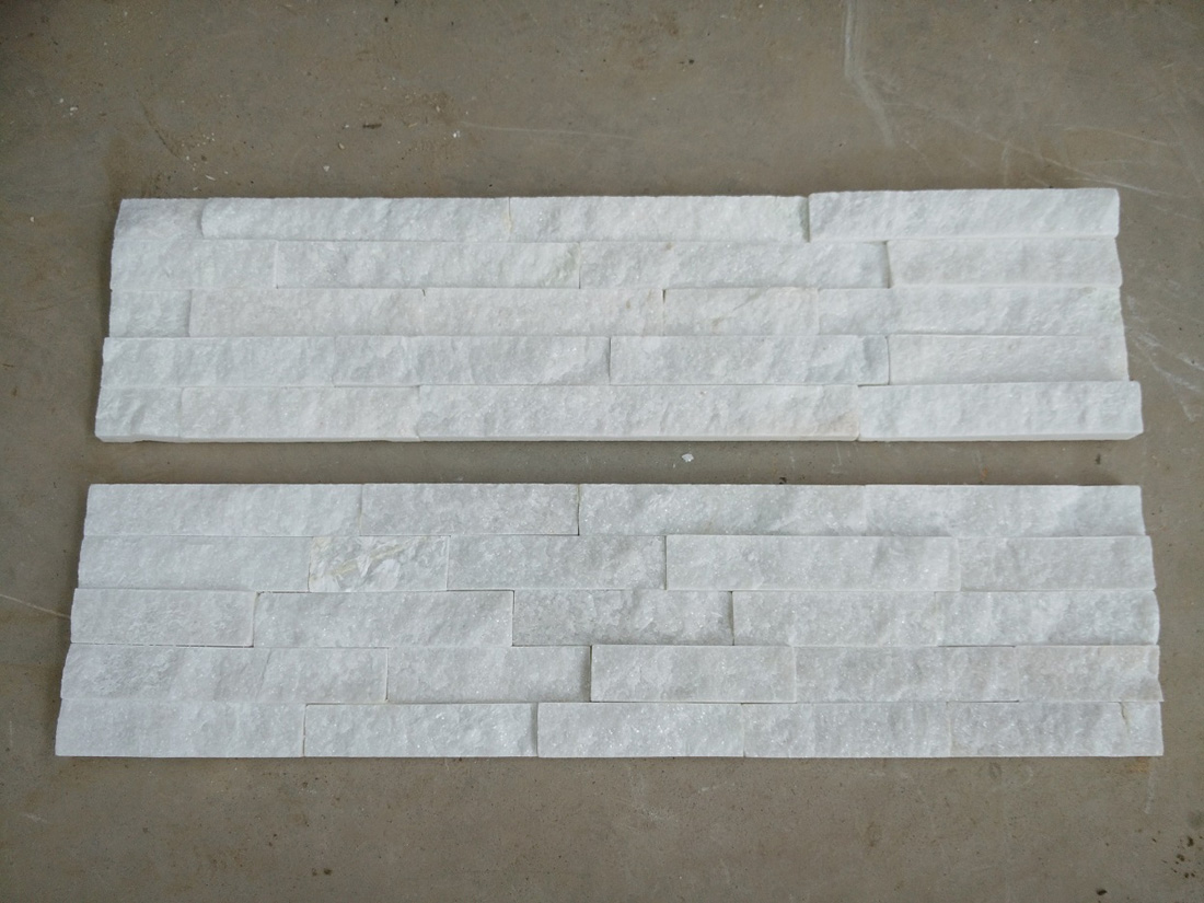 White Quartize Stacked Ledge Wall Stone Panel