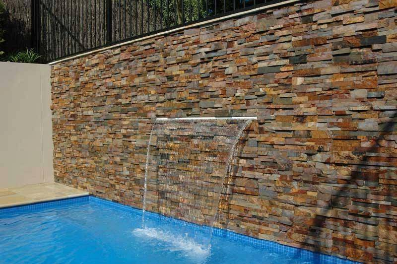 wall stone of swimming pool Rusty ledge stone split surface
