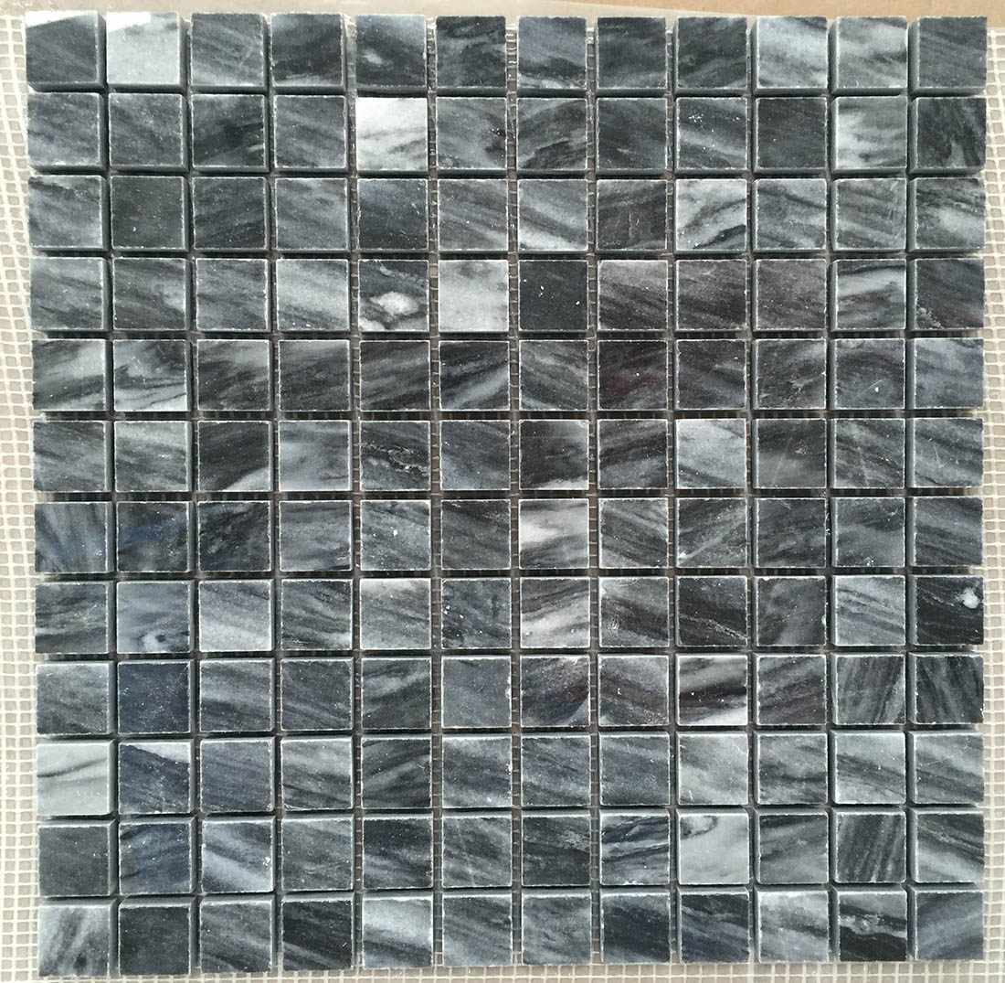 Square Mosaic Tiles Marble Black