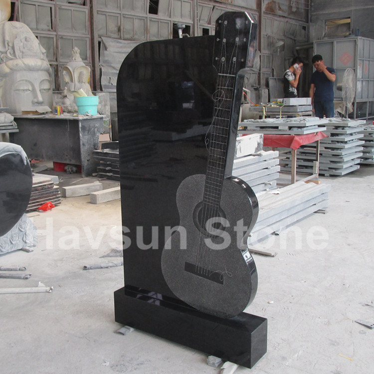 Black Granite Guitar Headstone Tombstone Monument