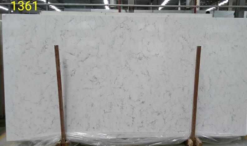 1361 calacatta white quartz slab
