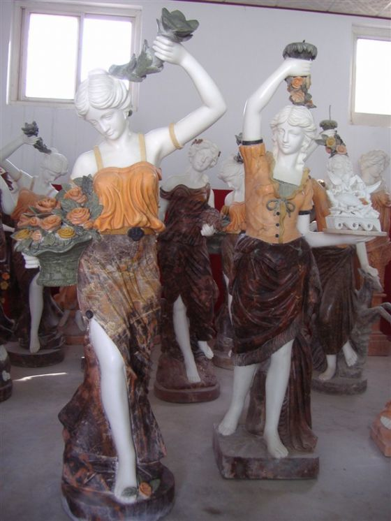 Outdoor multicolor marble garden beautiful girls stone statues