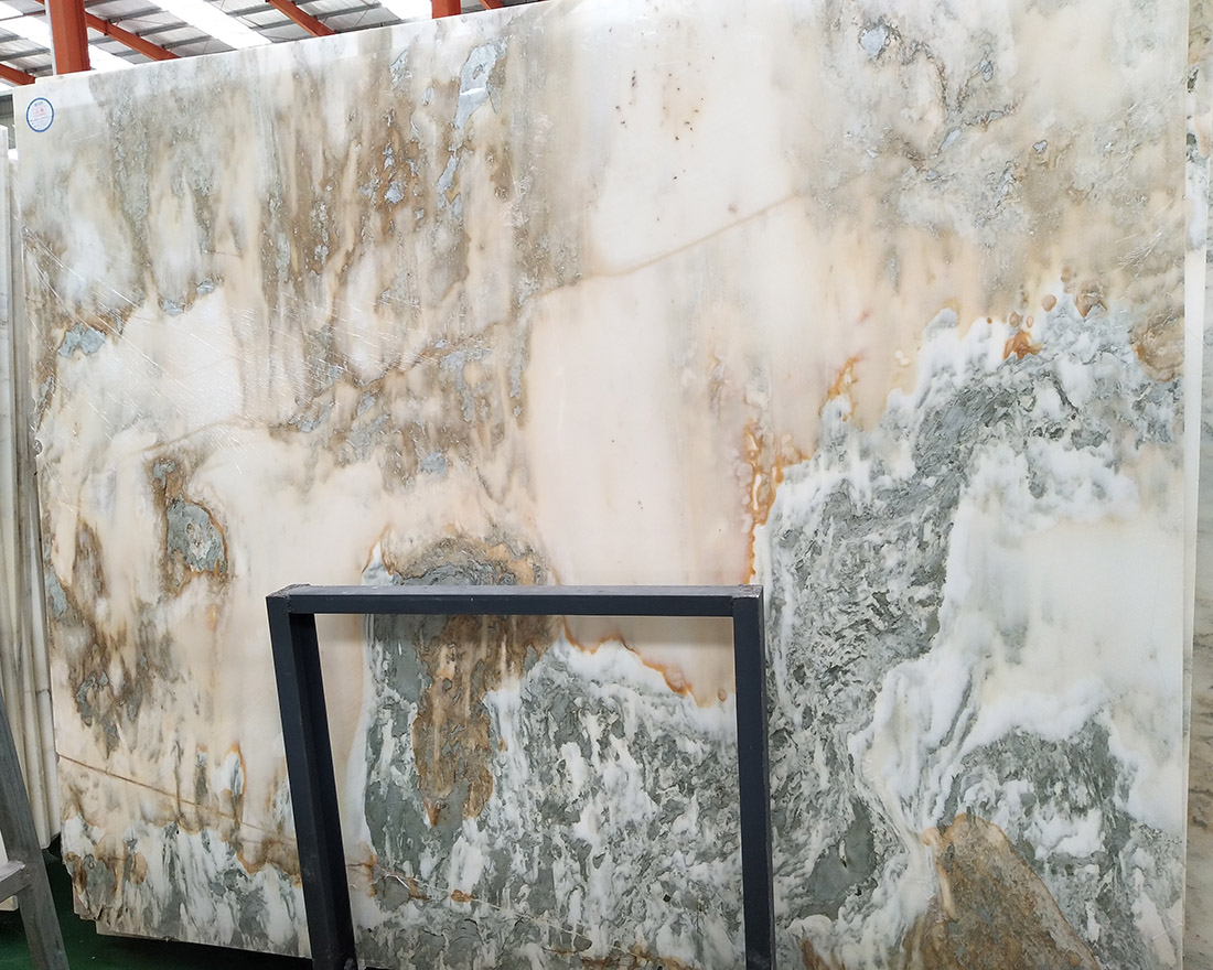 Multicolor marble slabs for background wall